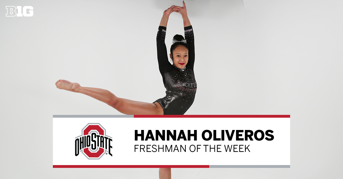 Your #B1GWGym #PlayeroftheWeek 👏 Hannah Oliveros of @OhioStateWGYM 👏   🤸‍♀️ Shared the title on the beam in Ohio State's season-opening meet 🤸‍♀️ Set a career- and team-high score in the event 🤸‍♀️ Earned OSU's 1st event title this season   #B1G📰