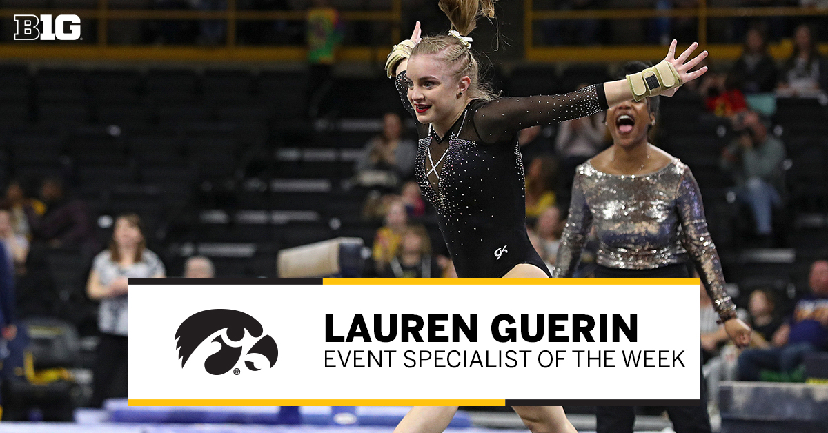 Your #B1GWGym #PlayeroftheWeek 👏 Lauren Guerin of @IowaGymnastics 👏   🤸‍♀️ Earned a share of the floor exercise title in Hawkeyes' season opener 🤸‍♀️ Tied her career high on the floor 🤸‍♀️ Helped Iowa to its highest team score in an opener in 17 years  #B1G 📰