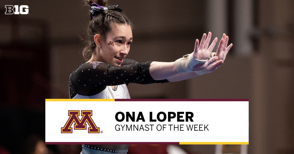 Your #B1GWGym #PlayeroftheWeek 👏 Ona Loper of @GopherWGym 👏   🤸‍♀️ Secured all-around title and won 3 events to lead Minnesota past Iowa 🤸‍♀️ Posted career-high scores on bars & floor exercise 🤸‍♀️ Tied her career-high all-around score  #B1G 📰