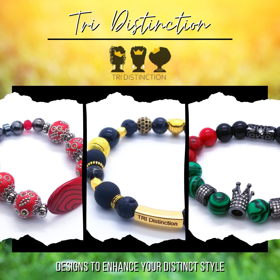 Beaded bracelets! 🛍️SHOP the BRACE YOURSELF collection! ➡️  #TRIDistinction #handmadejewelry #beadedjewelry #handmadebracelets #BoldBracelets #BraceYourself #BlackJewelryDesigners #MenofDistinction #WomxnBracelet #braceletstacks #mensjewelry #wristgame