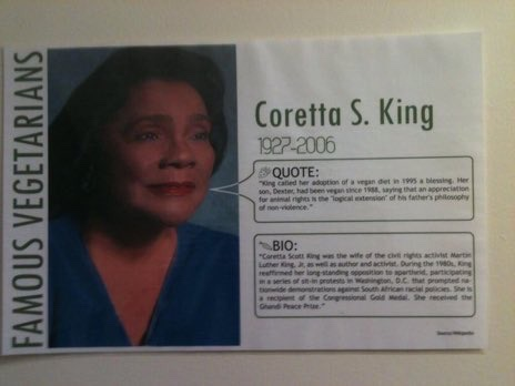 Did you know Coretta Scott King was #vegan?  #nonviolence #compassion #CorettaScottKing #MLK  #MLKday #MLKday2021 Famous #Vegetarians poster: