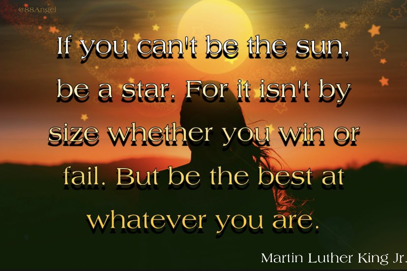 If you can't be the sun, be a star. For it isn't by size whether you win or fail. But be the best at whatever you are. #MondayMotivation #quotes #MLKDay #MLKDay2021 #inspirational
