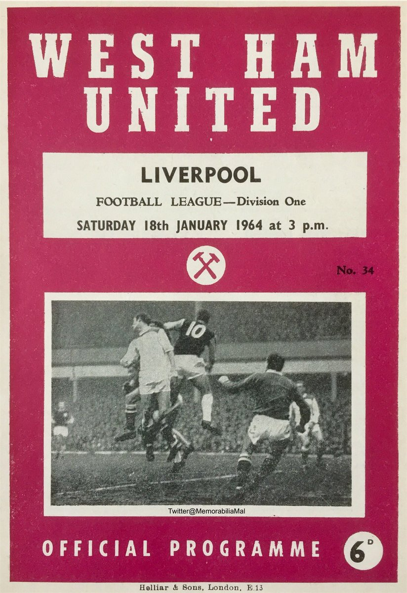West Ham United v Liverpool  Div1 OTD 18/1/64 (1-0 Byrne) Att.25,546 #WHUFC #COYI #LFC