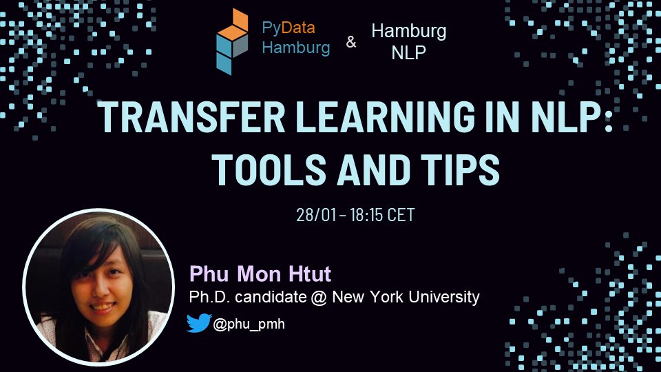 Moin!⚓Have you already signed up for our next meetup? @phu_pmh, Ph.D candidate @NYUDataScience will talk about Transfer learning in #NLP: tools and tips Grab your spot here:👇 meetup.com/PyData-Hamburg… #ArtificialIntelligence #MachineLearning #PyData @HamburgNLP