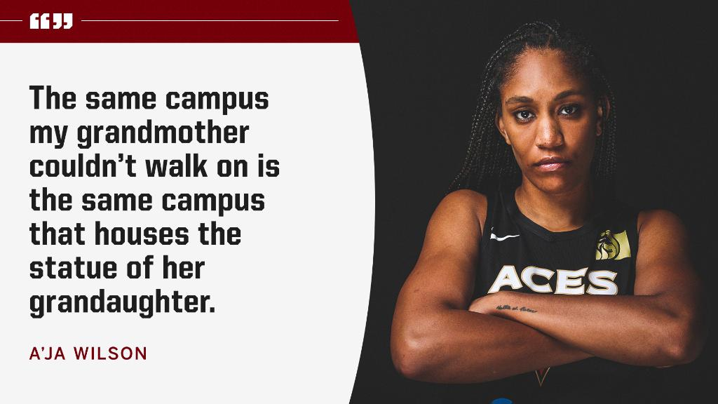 .@_ajawilson22 now has a statue in front of South Carolinas basketball arena. During her statue dedication today, she put the moment in perspective.
