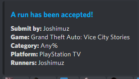 Joshimuz - I'm a bit late to the party but my run of GTA:VCS for @esamarathon got accepted into the schedule! And I'm doing the last run of the marathon :O