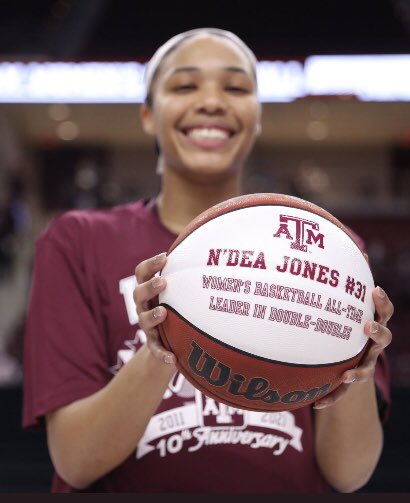 Of all the greats of @aggiewbb — @NdeaJones stands at the top of all-time double-doubles. Hard to explain what it means as a coach to know you'll get this effort from her each night!