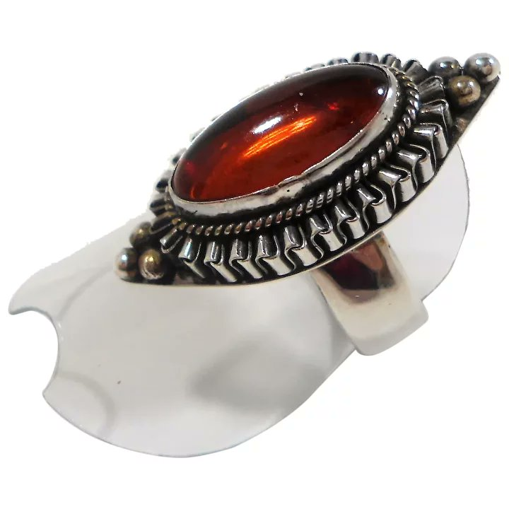 Suarti Ornate Bali Textured Sterling Silver Genuine Amber Ring Size 7.5 #rubylane #vintage #jewelry #ring #sterlingsilver #giftideas #treatmyself #treatyourself #fashionista #givevintage