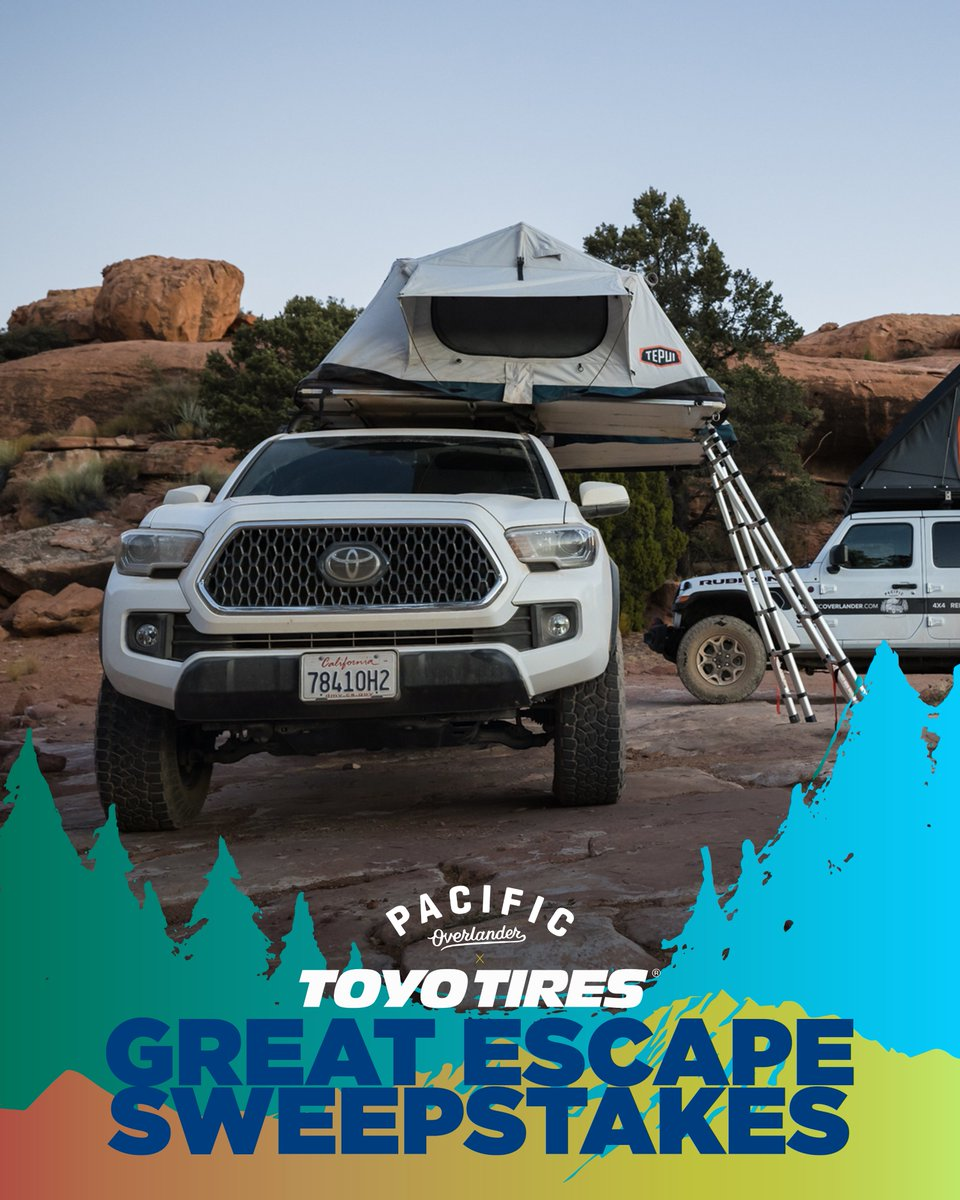 Who wants to win a Grand Canyon overlanding experience or a $500 gift card? Enter the Toyo Tires Great Escape Sweepstakes for the chance to win the grand prize. 4-days / 3-nights in the Grand Canyon w/ @PacOverlander! Enter at https://t.co/UEm1wmhzv7. https://t.co/FdiVy1CfLq