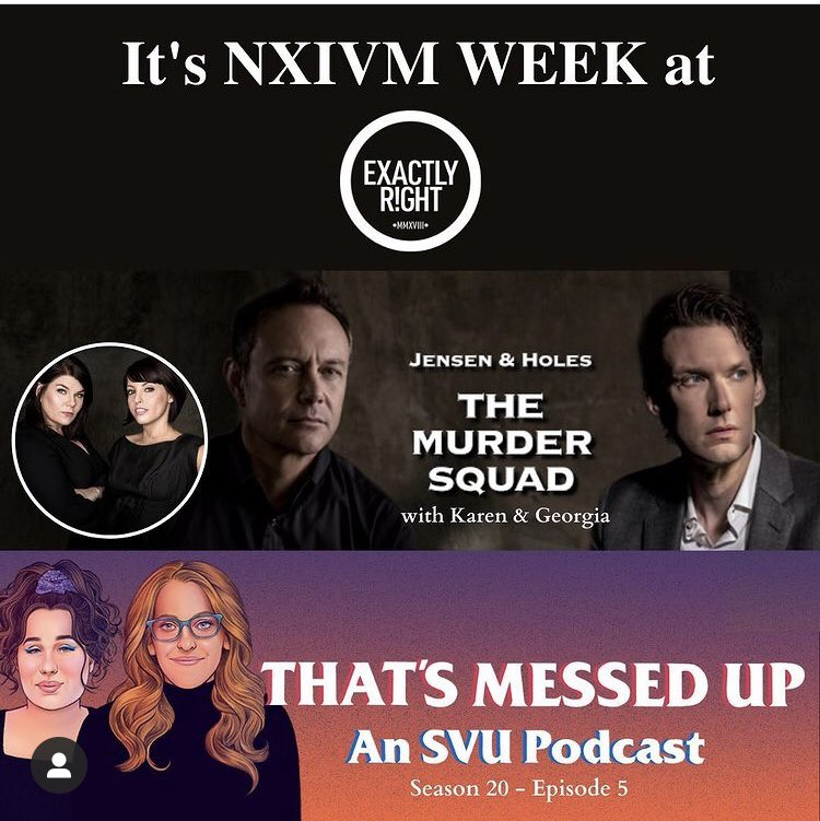 "It's NXIVM week on @exactlyright! So grab a volleyball and a sash and listen to today's episode of @JensenandHoles with @GHardstark and @KarenKilgariff then check out our ep covering SVU ep ""Accredo"" dropping tomorrow!"