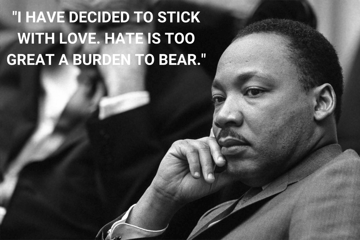 """""""I have decided to stick with love. Hate is too great a burden to bear."""" #MLKday #martinlutherkingjr"""