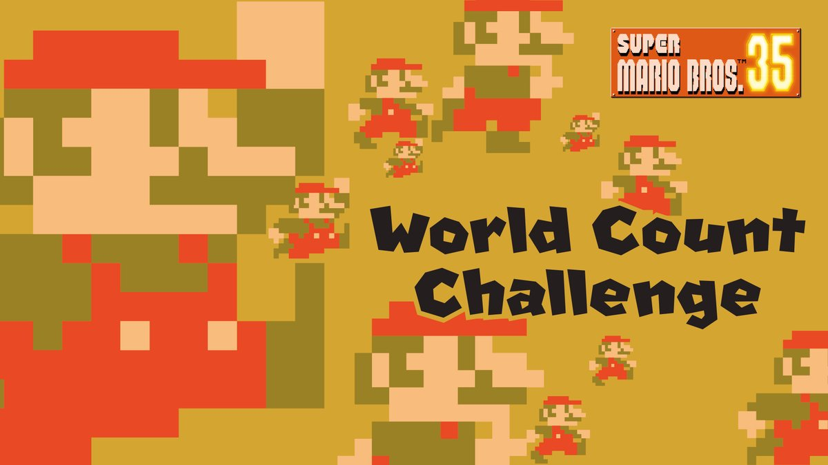 The first #SuperMarioBros35 World Count Challenge starts soon—running from Jan 18 11pm PT to Jan 25 10:59pm PT!   Team up with players worldwide to defeat 3.5 million Bowsers! If achieved, all participating players defeating at least 1 Bowser get 350 My Nintendo Platinum Points!