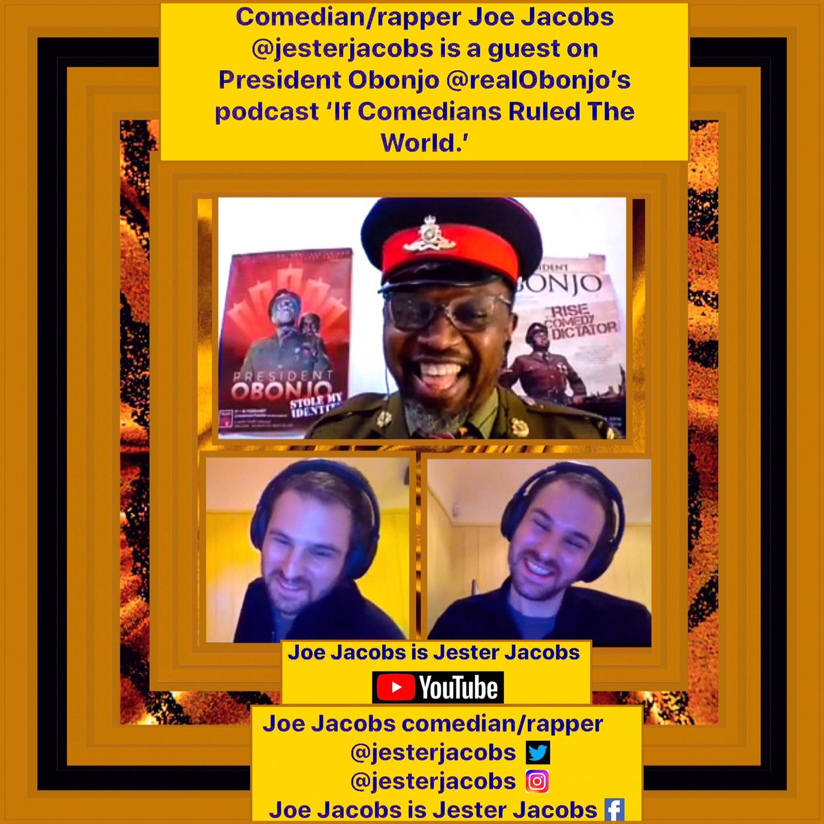 #Comedian/#rapper #JoeJacobs #jesterjacobs is a guest on #PresidentObonjo #realObonjo's #podcast 'If Comedians Ruled The World'  #Maharastra #Gujrat #Delhi #Rajasthan #india #agra #TamilNadu #Pune #Chennai #Nashik #kolkata #mumbai #juba #django #tamil #UK