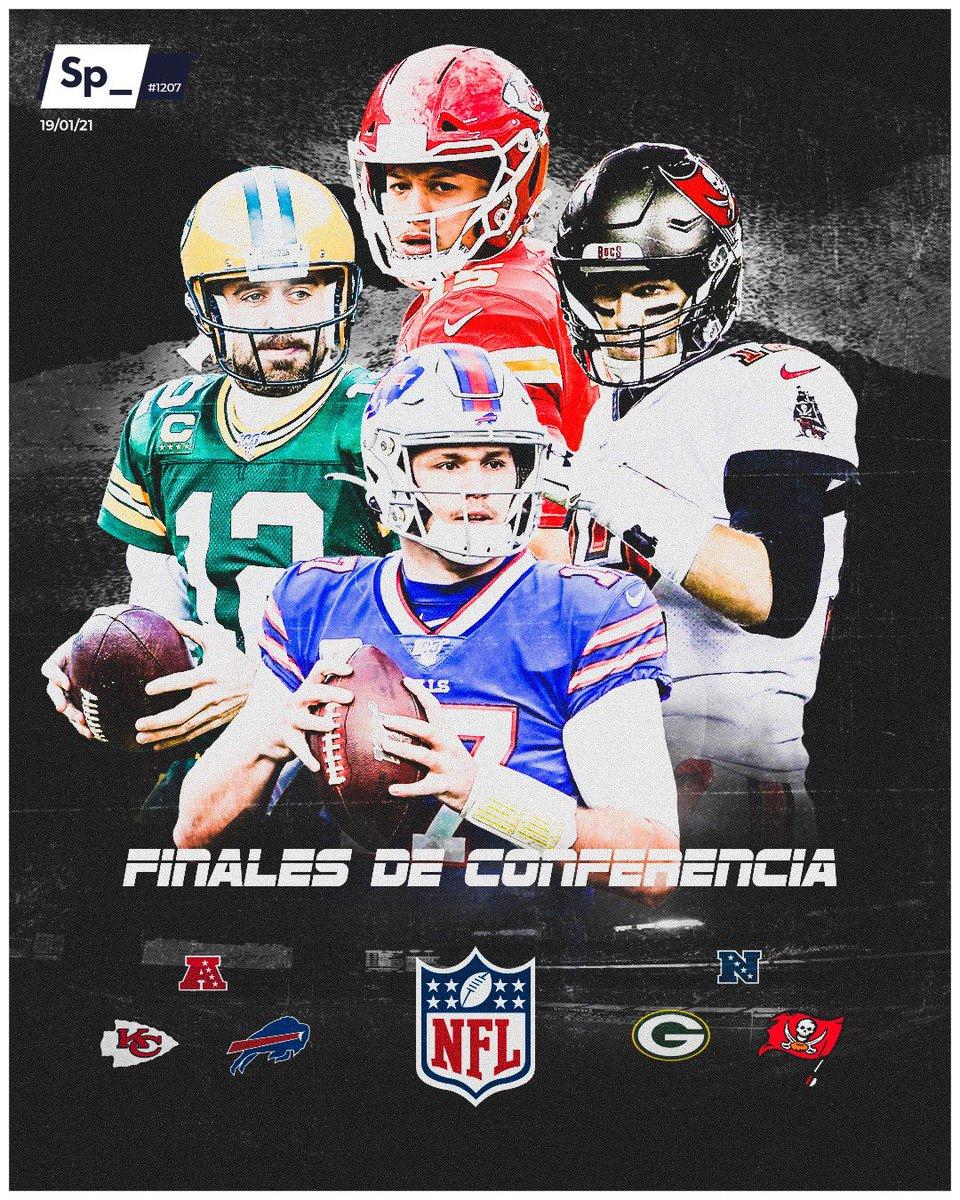 Definidas las finales de Conferencia de la NFL. La Nacional vivirá un duelo de veteranos entre Aaron Rodgers y Tom Brady, mientras que en la Americana se enfrentarán Patrick Mahomes y Josh Allen, miembros principales de la nueva generación de quarterbacks.  #PortadaSp_