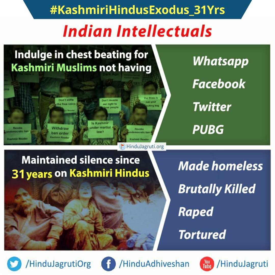 January 19, 1990, the 'black' day of history that no Hindu can ever forget!  Jihadis in Kashmir were asked to leave Kashmir by threatening Hindus overnight.   Hindus had only three options - 'Run, follow Islam or be prepared to die'   #KashmiriHindusExodus_31Yrs https://t.co/qJCslDN16G