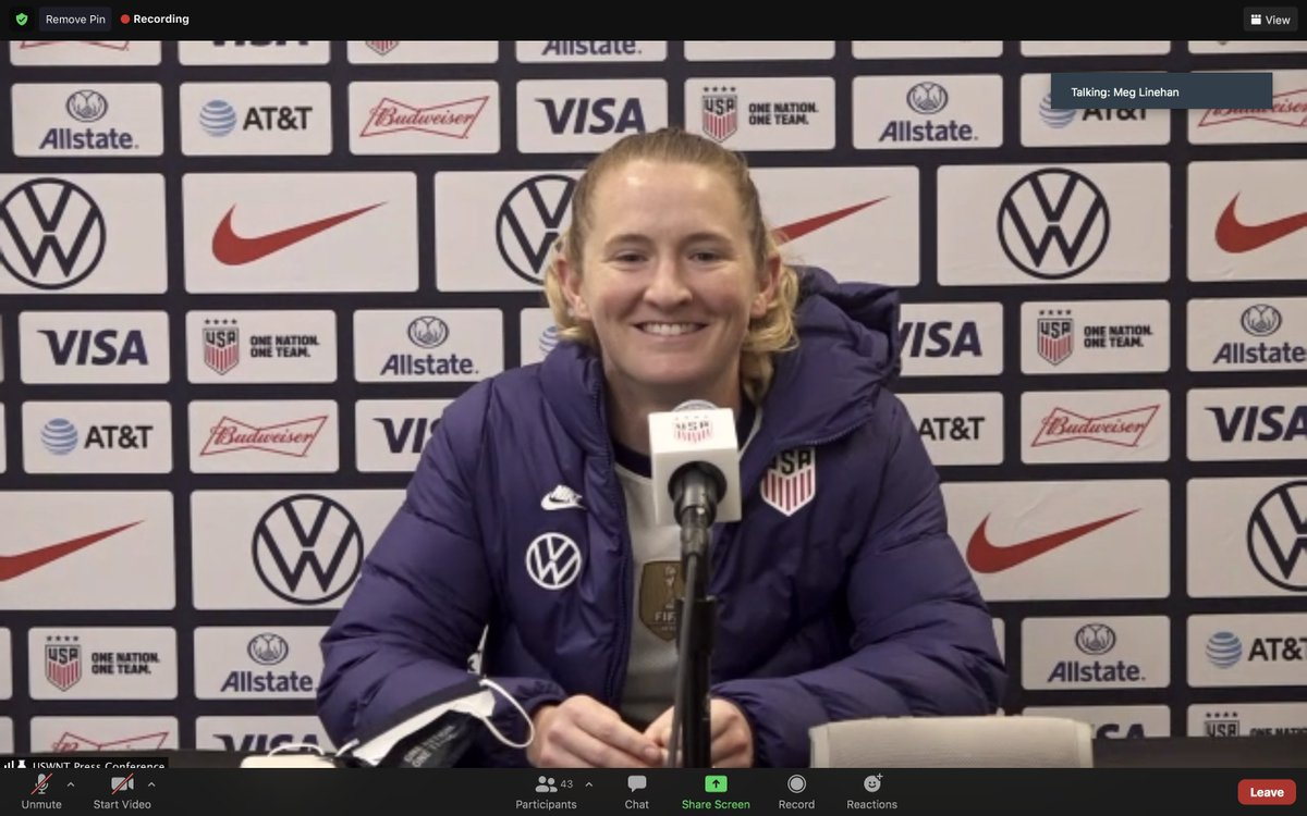 """Sam Mewis on winning tonight's match with her sister: """"I'm just so proud of Kristie. ... I feel so lucky that we both get to be here and it's just been so fun. Sorry that's a lame answer, but it's true."""""""
