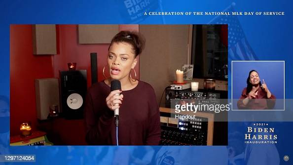 """Andra Day performs during the """"United We Serve"""" a celebration of the national MLK Day of Service  More 📸 #UnitedWeServe 👉 https://t.co/bieAYImmsQ #AndraDay #MLKDay #BidenHarrisInauguration @BidenInaugural https://t.co/1SfWAO9OtE"""