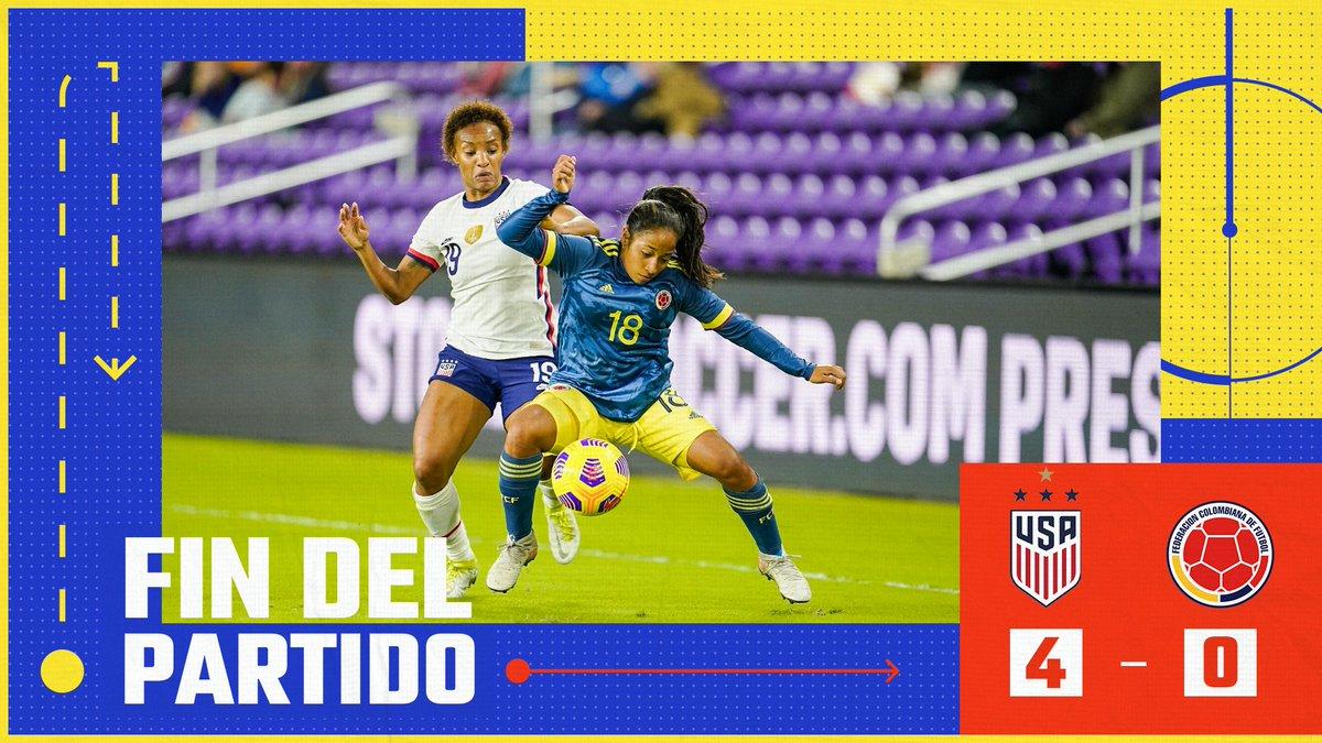 ⏱️ Finaliza el primer partido de preparación de nuestra Selección Femenina de mayores 🆚🇺🇸  🇺🇸4⃣-0⃣🇨🇴  📸 @isiphotos-Brad Smith  #VamosColombia 🇨🇴 #USACOL