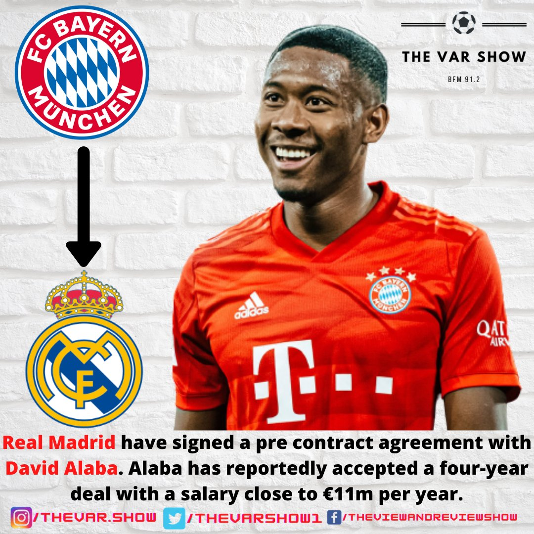 Real Madrid C.F.  have signed a pre contract agreement with FC Bayern München 's  David Alaba . Alaba has reportedly accepted a four-year deal with a salary close to €11m per year.  #RealMadrid #BayernMunich #DavidAlaba #transferwindow #transfers #MiaSanMia #HalaMadrid
