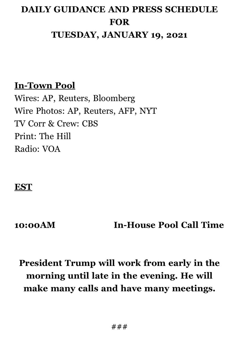 This is the schedule for the last full day of Donald Trump's presidency.
