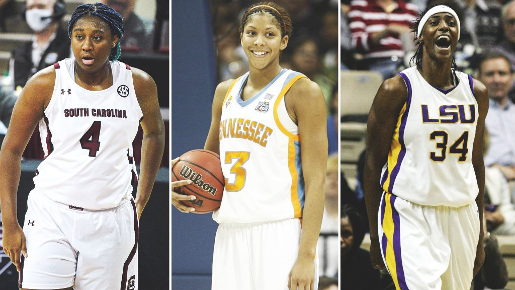 The only SEC players over the last 20 seasons to put up 25 Pts, 15 Reb, and 5 Blk in a conference game:  🔺 @aa_boston  🔺 @Candace_Parker  🔺 @SylviaFowles