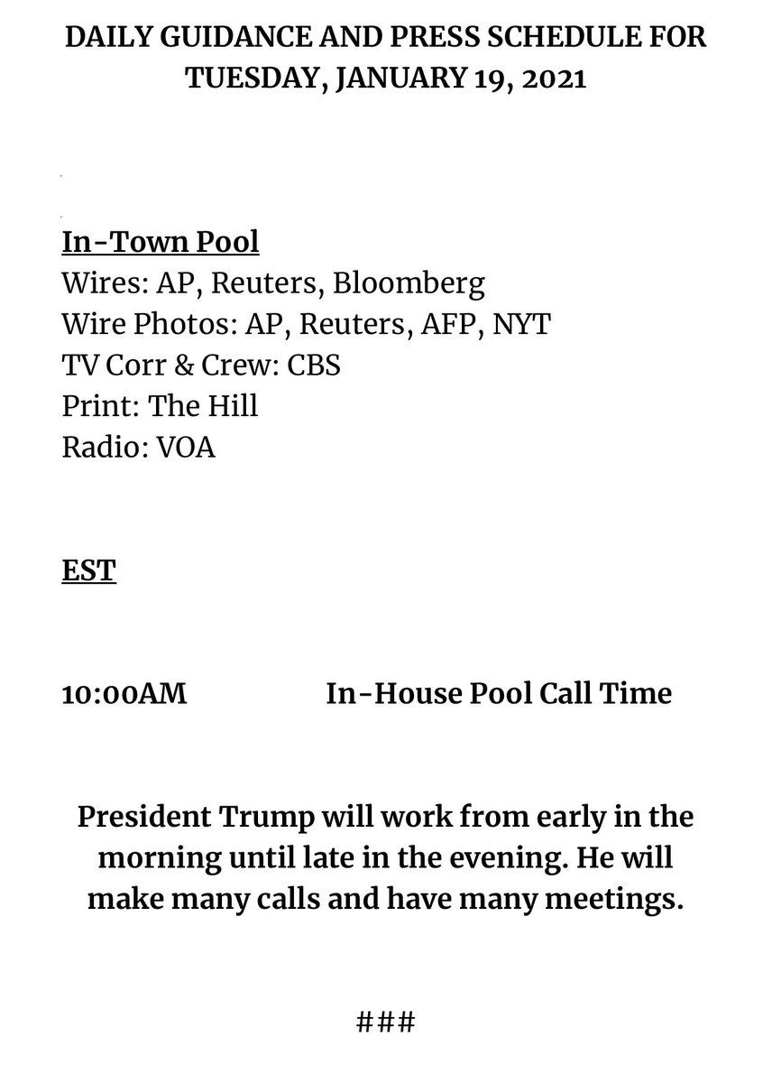 Here is the schedule for President  Donald Trump's final day in office: