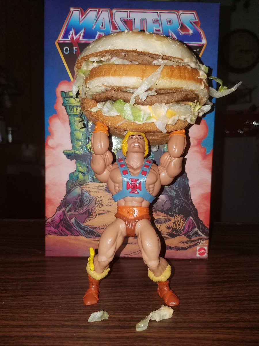 Here's He-Man's favorite burger and sandwich. #HeMan #MOTU #MOTUOrigins #AddictedToMOTU #GreatestToysEverMade #GreatestFranchiseInTheUniverse #McDonalds #BigMac #McRib