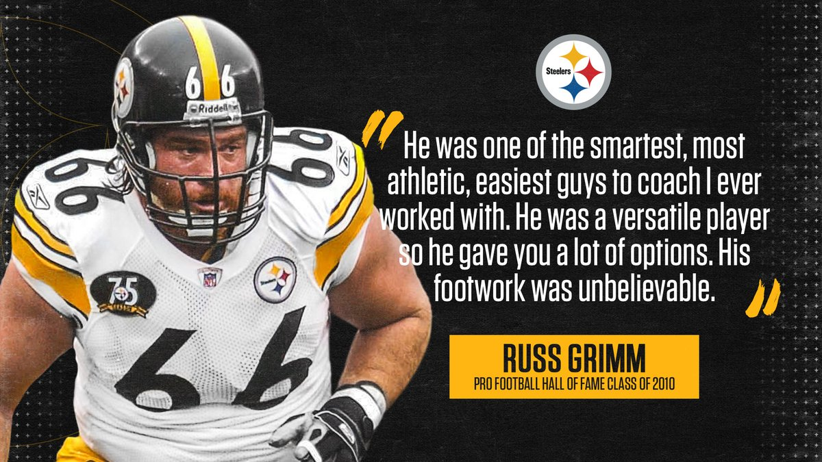.@ProFootballHOF guard & former #Steelers offensive line coach Russ Grimm on #PFHOF21 Finalist @afan66: