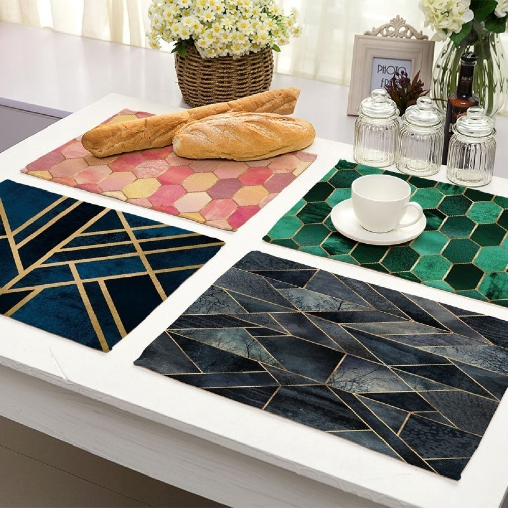 Geometric Marble Printed Kitchen Table Mat #homeinterior #homecoming
