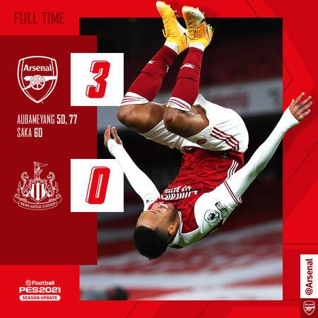 It was a joyous morning after a brace by @Aubameyang7 and another from @BukayoSaka87 in the second half were enough to see of Newcastle.  Another clean sheet by @Bernd_Leno 👏  We are in the top ten!  #COYG