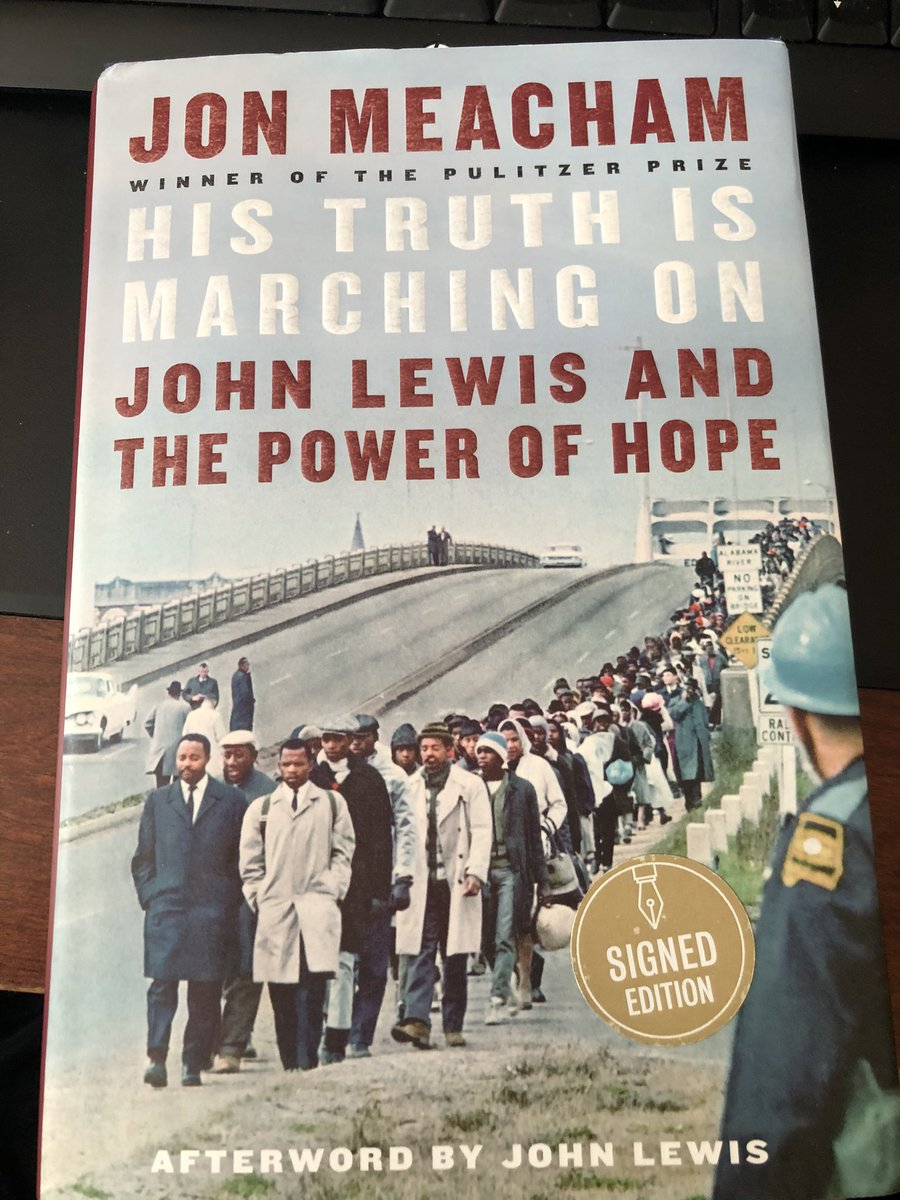 In honor of #MLKDay, I'm reading a book about Jon Lewis today. Let their ideals work through all of us.