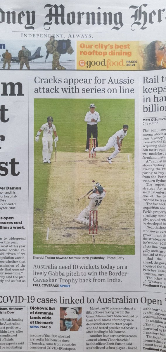 Final day of the cricket summer #GabbaTest . With cricket on the front & back pages, it deserves a glorious finish. The romantics would back India to end the tour with a fairytale win. The realists would expect the Aussie quicks to get the job done #AUSvIND #INDvAUS #INDvsAUS