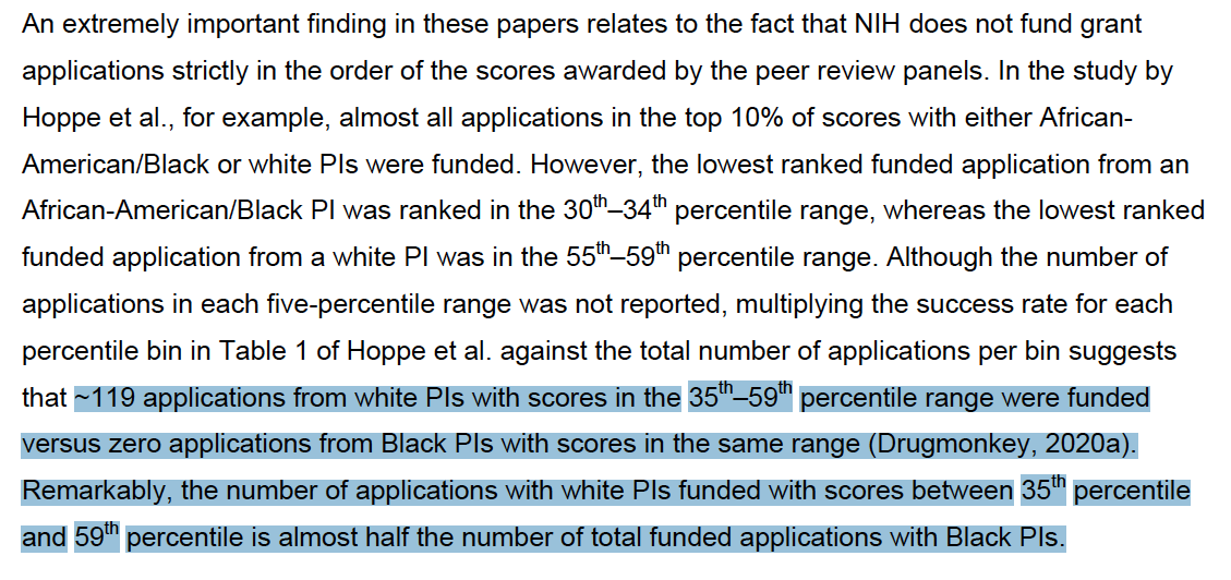 """A compelling read on NIH funding disparities. This is disheartening: 119 R01s scored outside the payline but were """"pulled""""/selected for funding by POs (fine)... but none were from Black PIs (!!!). https://t.co/JX1V1TpfOd https://t.co/27g0v4EmFc"""