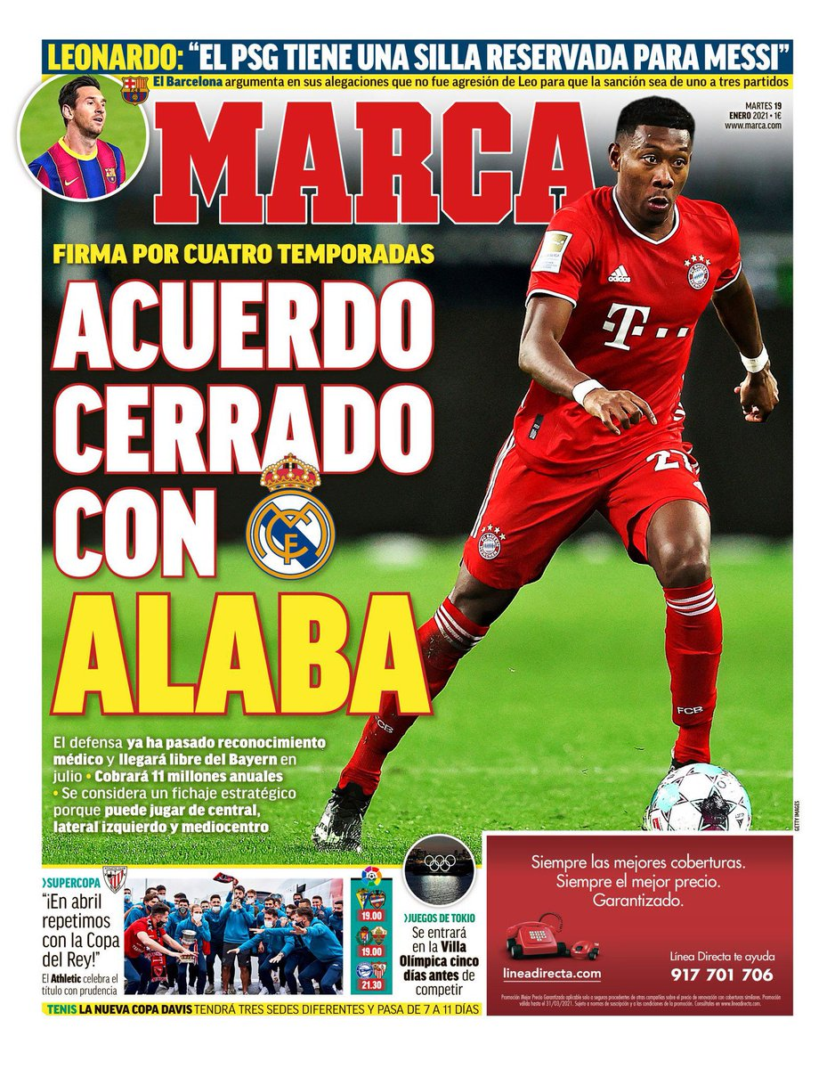 🚨 MARCA  Real Madrid is signing Alaba for free in July