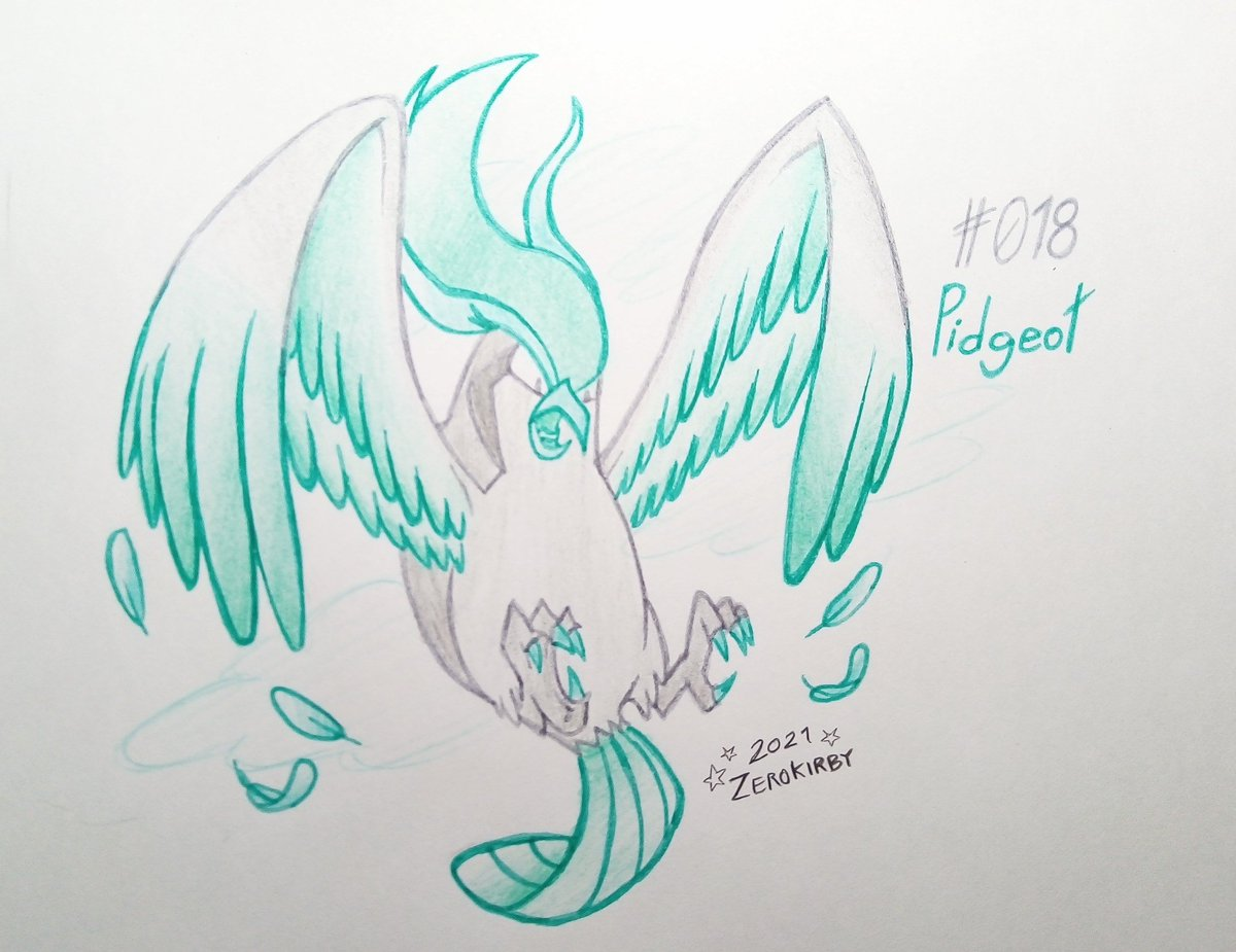 Day 18 of the #ZeroDex   #018 - Pidgeot [Normal/Flying]  The beautiful, glossy feathers on top of its head are captivating to many aspiring trainers, who end up choosing Pidgeot as one of their main Pokémon.  #pokemon #Pidgeot #pokemonart #fanart #traditionalart #art #Pokemon25
