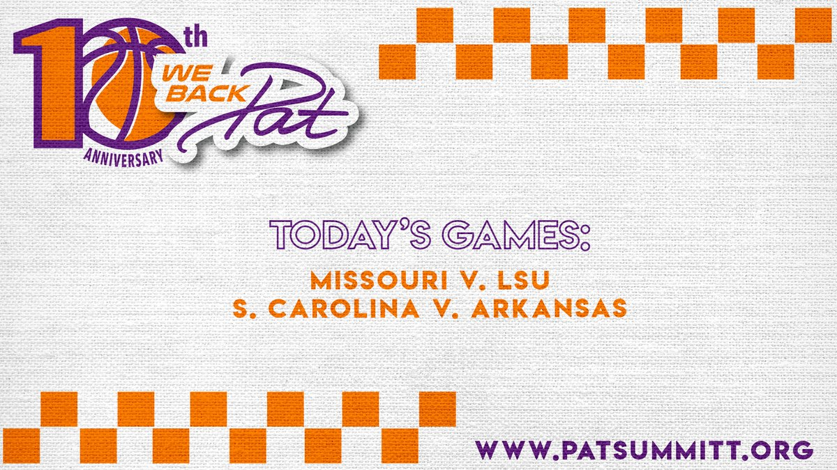 Tonights #WeBackPat games 🧡💜 Tip off times and networks » bit.ly/2LZWAPE.