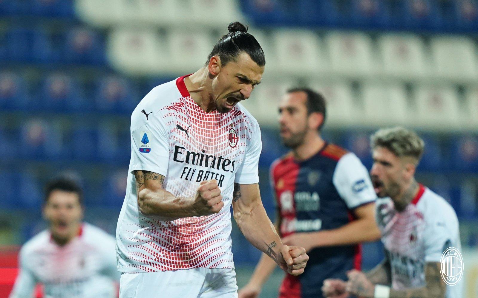 Penyerang AC Milan, Zlatan Ibrahimovic memborong 2 gol kemenangan atas Cagliari di Liga Italia Serie A, Selasa (19/01/2021)