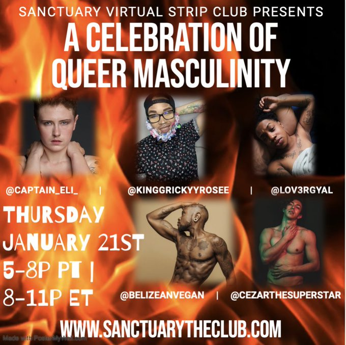 1 pic. Thurs 1.21 is our CELEBRATION OF QUEER MASCULINITY & feat. Ricky Rosé, Cezar The Superstar, Reign