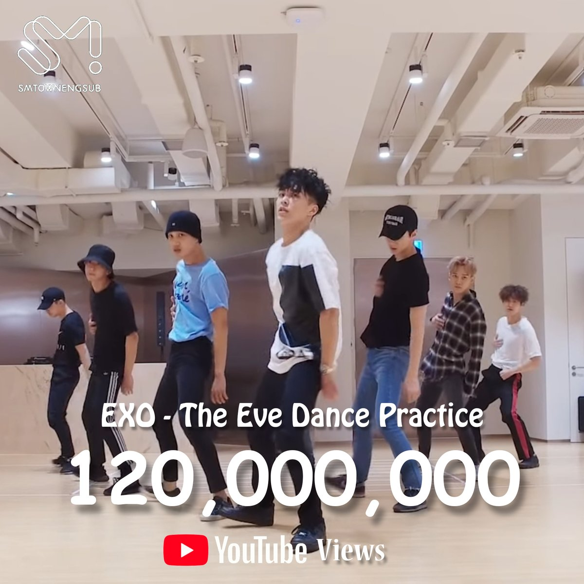 ".@weareoneEXO ""The Eve"" becomes the 1st SM dance practice video to hit 120,000,000 views on YouTube"