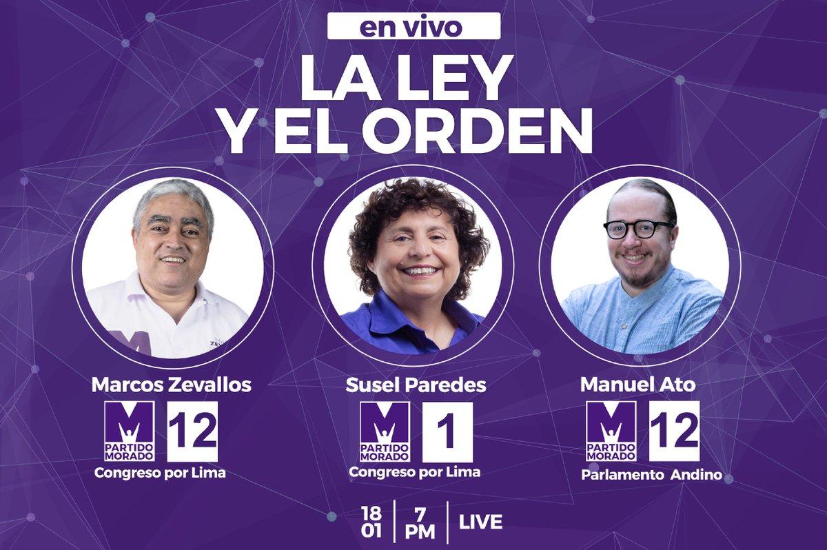 ¡Parlamento Andino y Congreso trabajando juntos! Los invito hoy a vernos a las 7:00 p.m en La Ley y el Orden 2021, junto a Susel y Marco, candidatos 1 y 12 al Congreso por Lima. ¡No se lo pierdan! #M12 #ParlamentoAndino #UnirParaProgresar