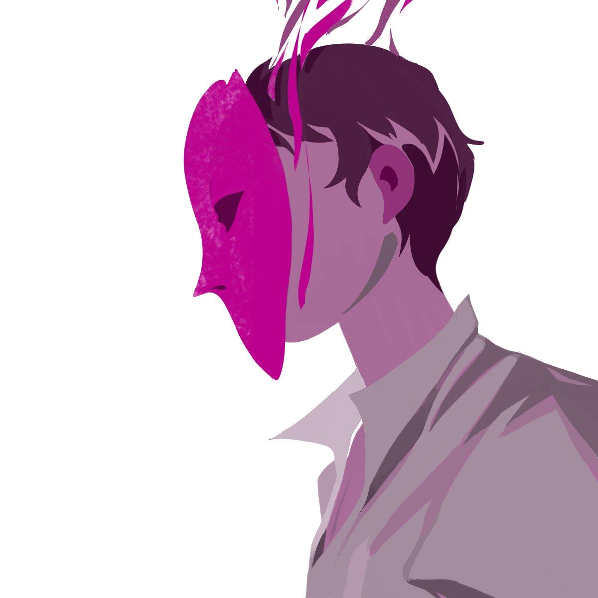 Huevember n°12  #mask #purple #boy #smoke #shirt #reflexion #huevember2020 #art #drawing