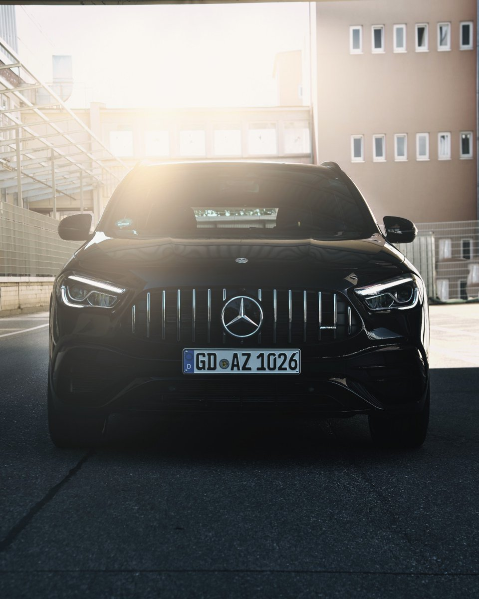 [Kraftstoffverbrauch kombiniert: 9,3–9,2 l/100 km | CO₂-Emissionen kombiniert: 211–209 g/km |  | Mercedes-AMG GLA 45 S 4MATIC+]  This is a stare down.  Learn more about the GLA:  📷 Filip Nies for #MBsocialcar #MercedesAMG