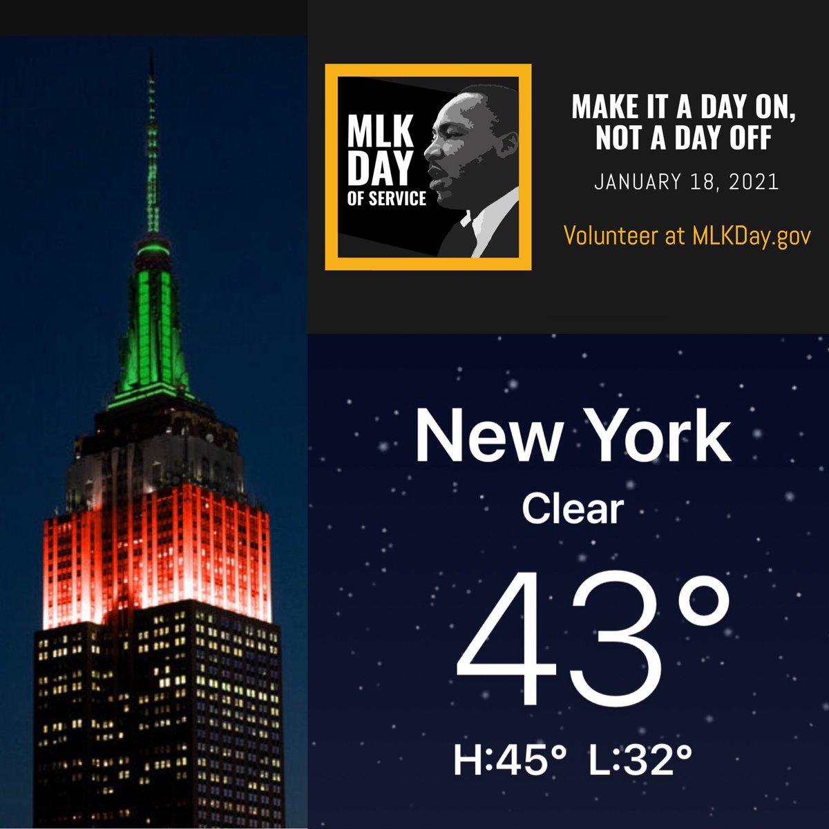It's a crisp night in #NYC with temps heading into the 30s as NYers join with the #EmpireStateBuilding, lit in Red, Green & Black in honor of #MartinLutherKingJr on #NationalMartinLutherKingDay @EmpireStateBldg @NY1weather @MLKDay @NationalDayCal