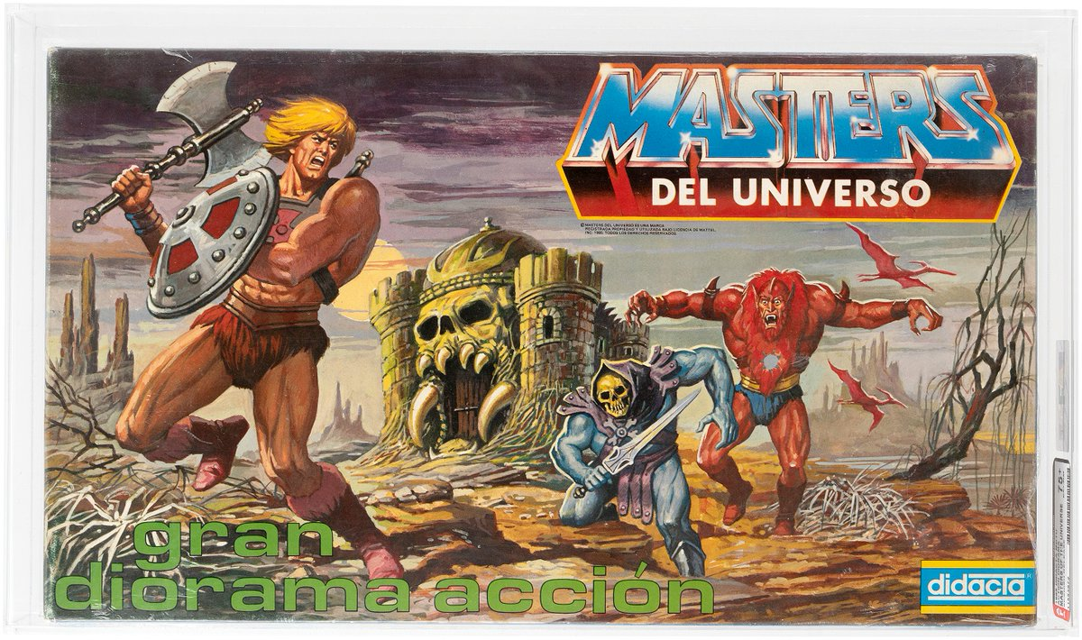 #Hakes231 Sneak Peek! ✅ out this stunning #Spanish @MastersOfficial action diorama released in #Spain by #Didacta! This #AFA 75+ example is in @HakesAuctions! Bidding opens Feb. 2! 🇪🇸 #MastersOfTheUniverse #MOTU #HeMan #Skeletor #BeastMan #CastelGrayskull