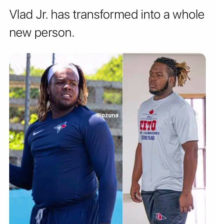 I'm almost 100% certain @BlueJays sat him down and laid out some ultimatums...he's going to be a beast this year! #baseball #hawaiibaseball #workout #weightloss #dramaticchanges #beastmode #vladjr