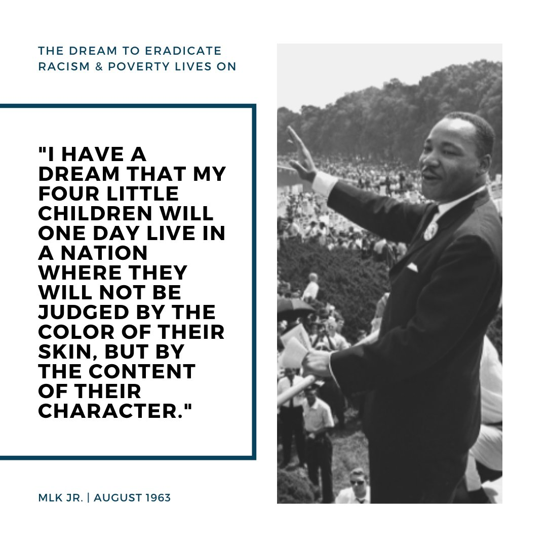 We honor the life and legacy of Dr. Martin Luther King, Jr. and we recognize that the fight for racial equality is not over. We must carry on the dream and work from the Civil Rights Movement.   #MLK #MLKDay #CivilRights #RacialEquality #Racism #Poverty #IHaveADream #Equality