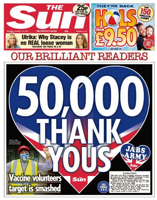 Tuesday's Sun: '50,000 thank yous' #TomorrowsPapersToday #TheSun #Sun