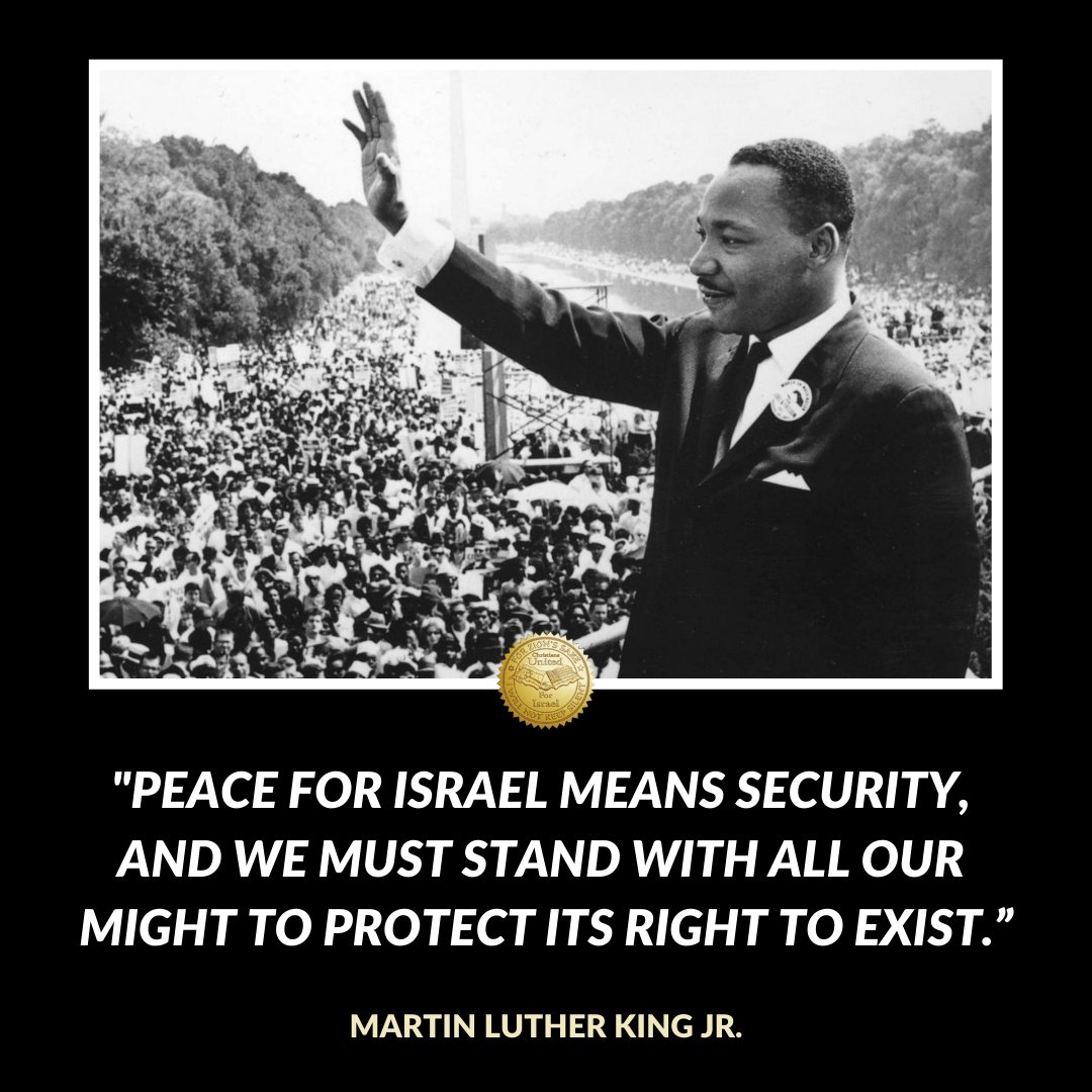 """""""Peace for Israel means security, and we must stand with all our might to protect its right to exist.""""  -Martin Luther King Jr.   #MLKDay"""