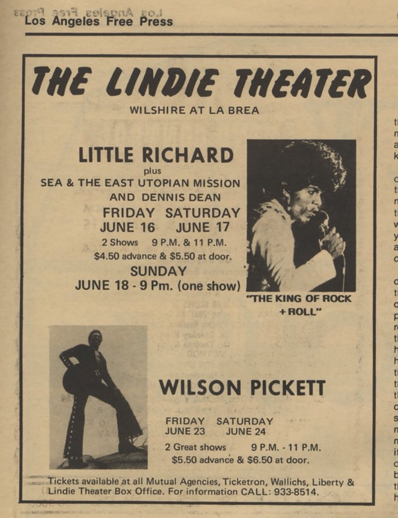 1972 // Great time for live music in Los Angeles.  Little Richard and Wilson Pickett at the Lindie Theater (previously Fox Ritz).   Sea & the East Utopian Mission were a six-piece heavy rock band.  #vintage #LosAngeles #music #MLKDay
