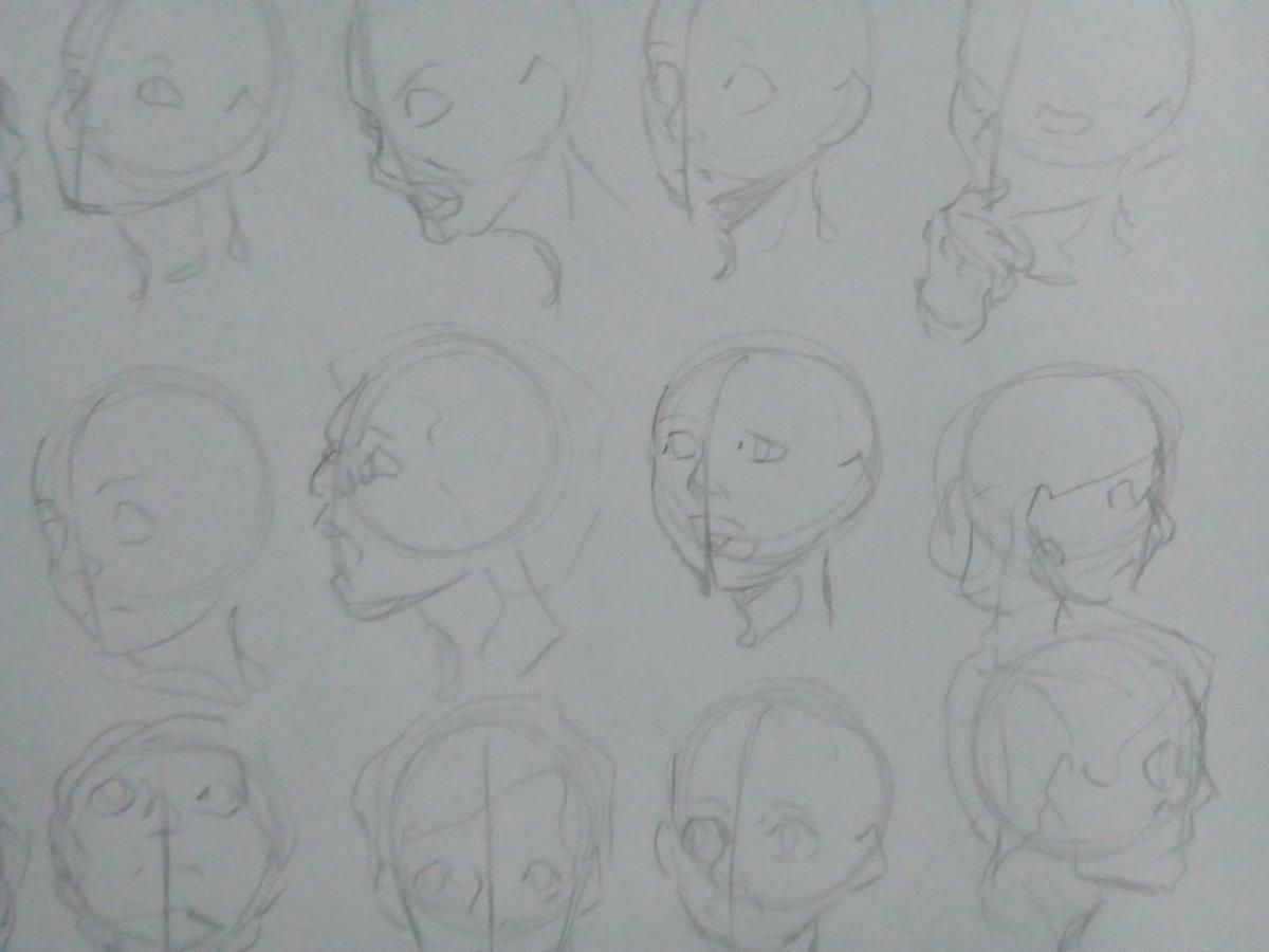 Una práctica de cabecitas, de las 30 que hice esas son las más lindas #sketch #drawing #draw